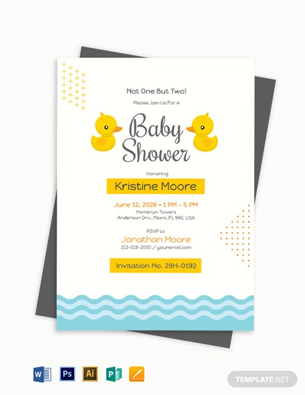 Twin Boy Baby Shower Invitation Template