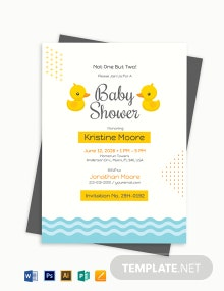 Twin Boy Baby Shower Invitation Template