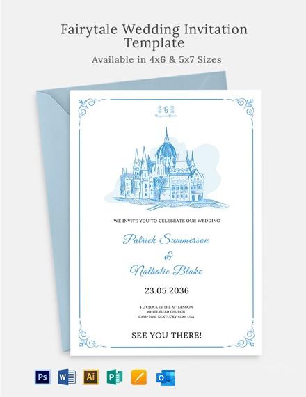 Simple Fairytale Wedding Invitation Template