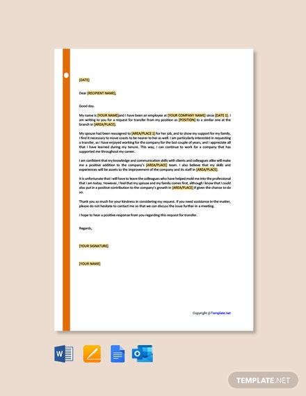 Free Transfer Letter Example Template