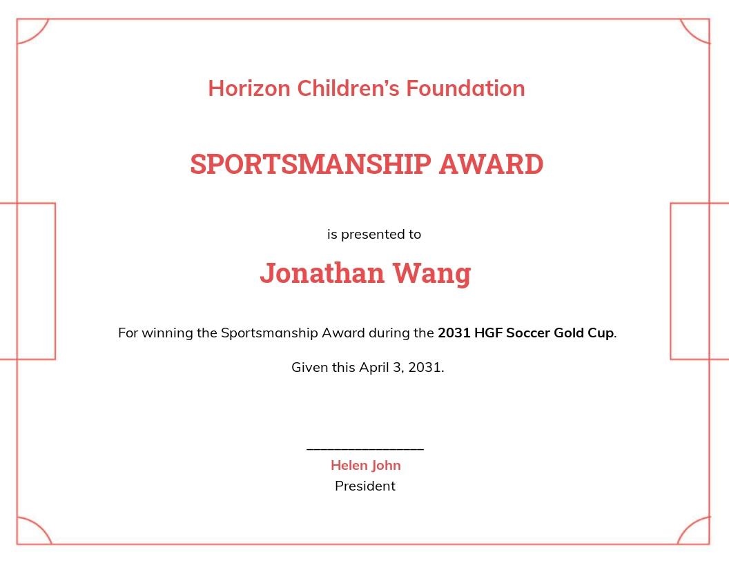 Printable Soccer Award Certificate Template