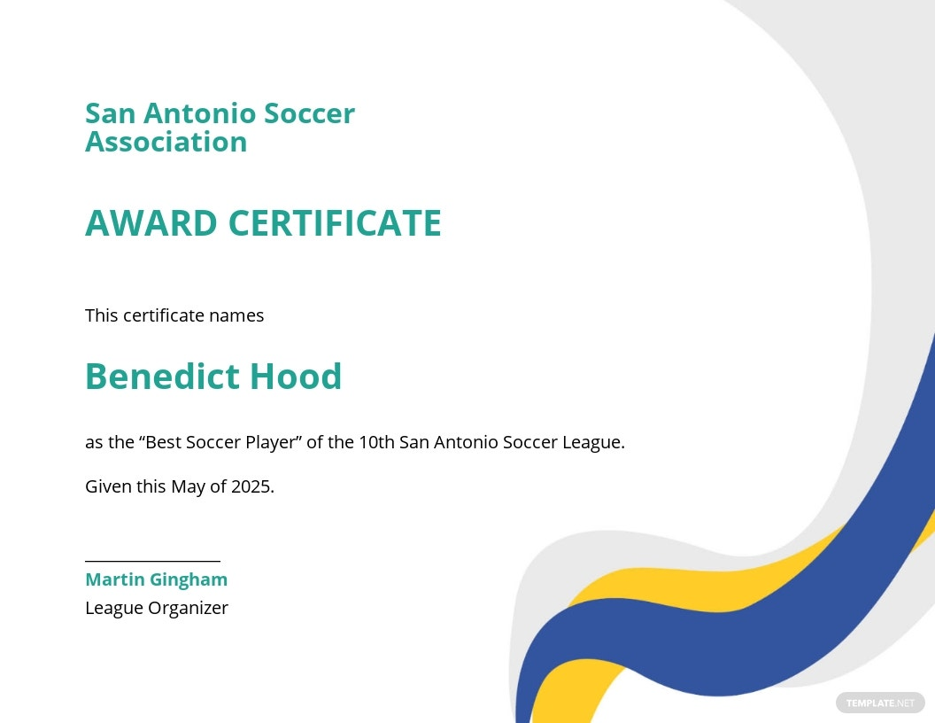 Simple Soccer Award Certificate