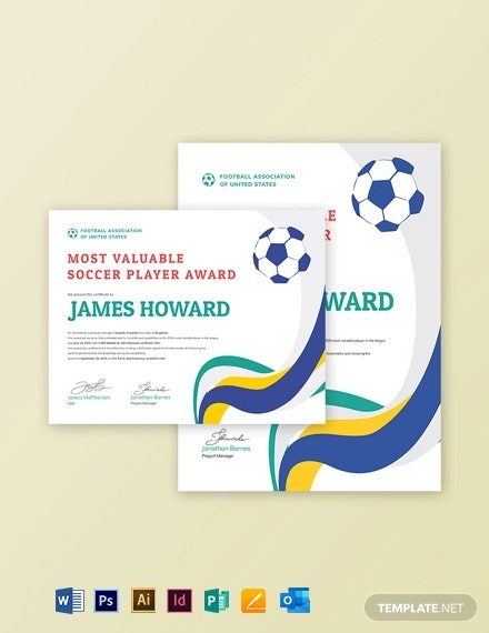 Free Simple Soccer Award Certificate