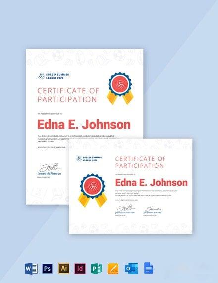 Free Elegant Soccer Award Certificate Template