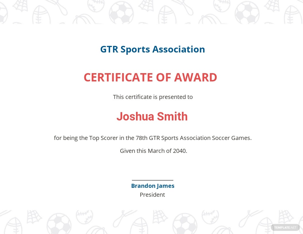 Elegant Soccer Award Certificate Template