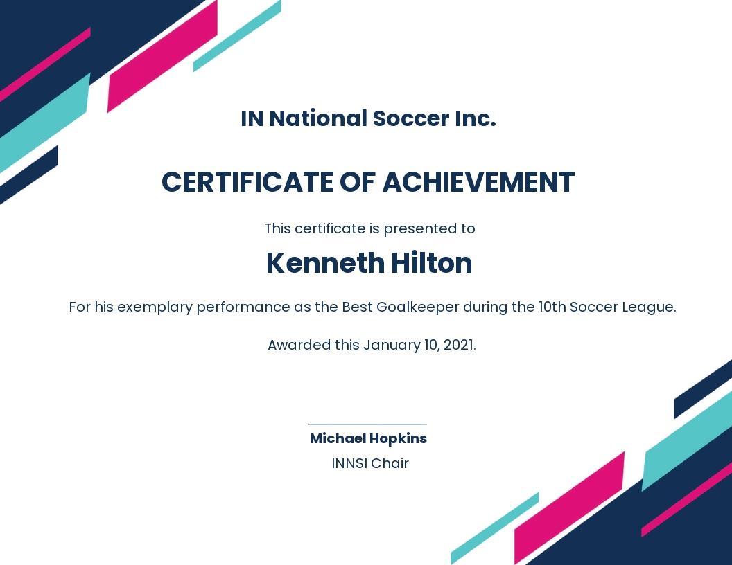 Sample Soccer Award Certificate Template