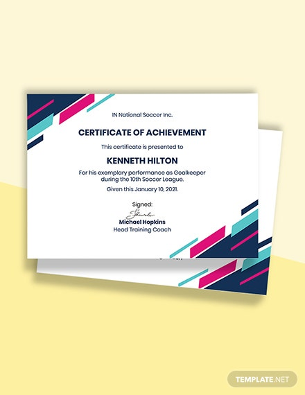 Free Sample Soccer Award Certificate Template