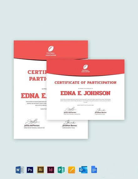 Free Sample Soccer Award Certificate Template