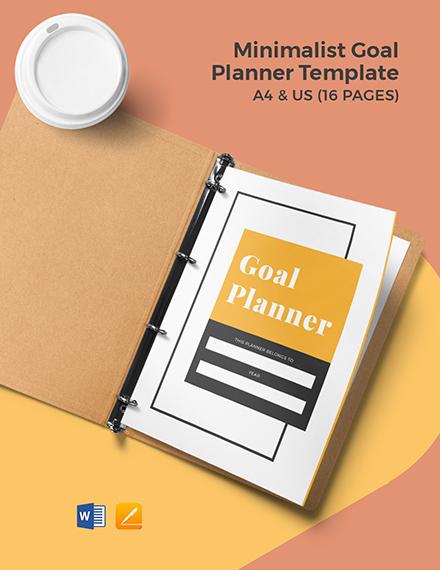 Free Minimalist Goal Planner Template