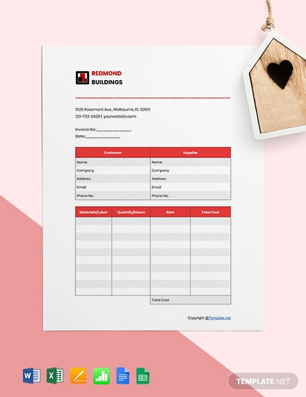 Editable Construction Invoice Template