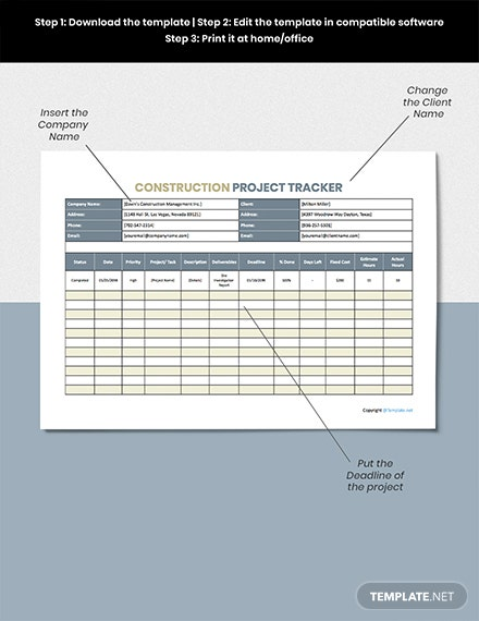 Printable Construction Tracking Template [Free Google Docs] - Google Sheets, Excel, Word, Apple Numbers, Apple Pages