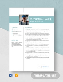 Free Mechanical Contractor Resume Template