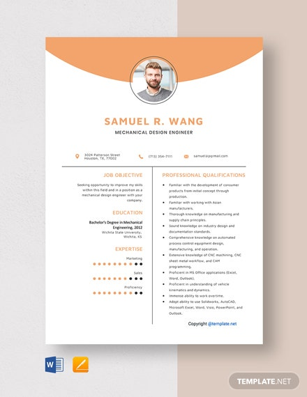 Free Mechanical Design Engineer Resume Template