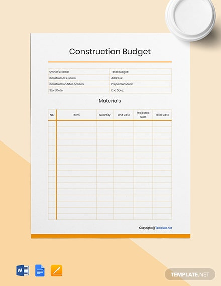 Blank Construction Budget Template