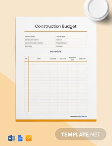 Free Blank Construction Budget Template