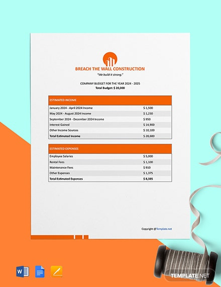 Free Simple Construction Budget Template