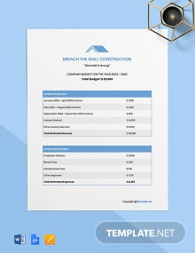Free Sample Construction Budget Template
