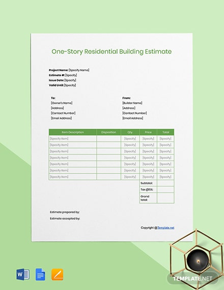 Free Blank Construction Estimate Template