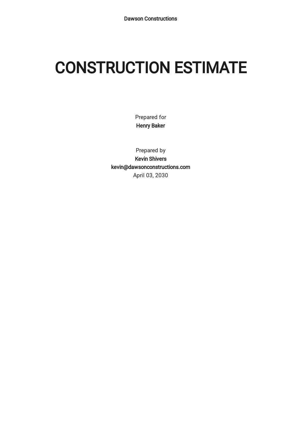 Blank Construction Estimate Template