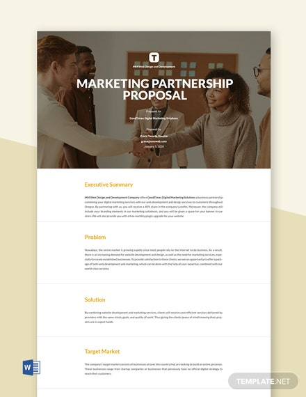 Editable Free Business Partnership Proposal Template
