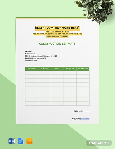 Free Editable Construction Estimate Template