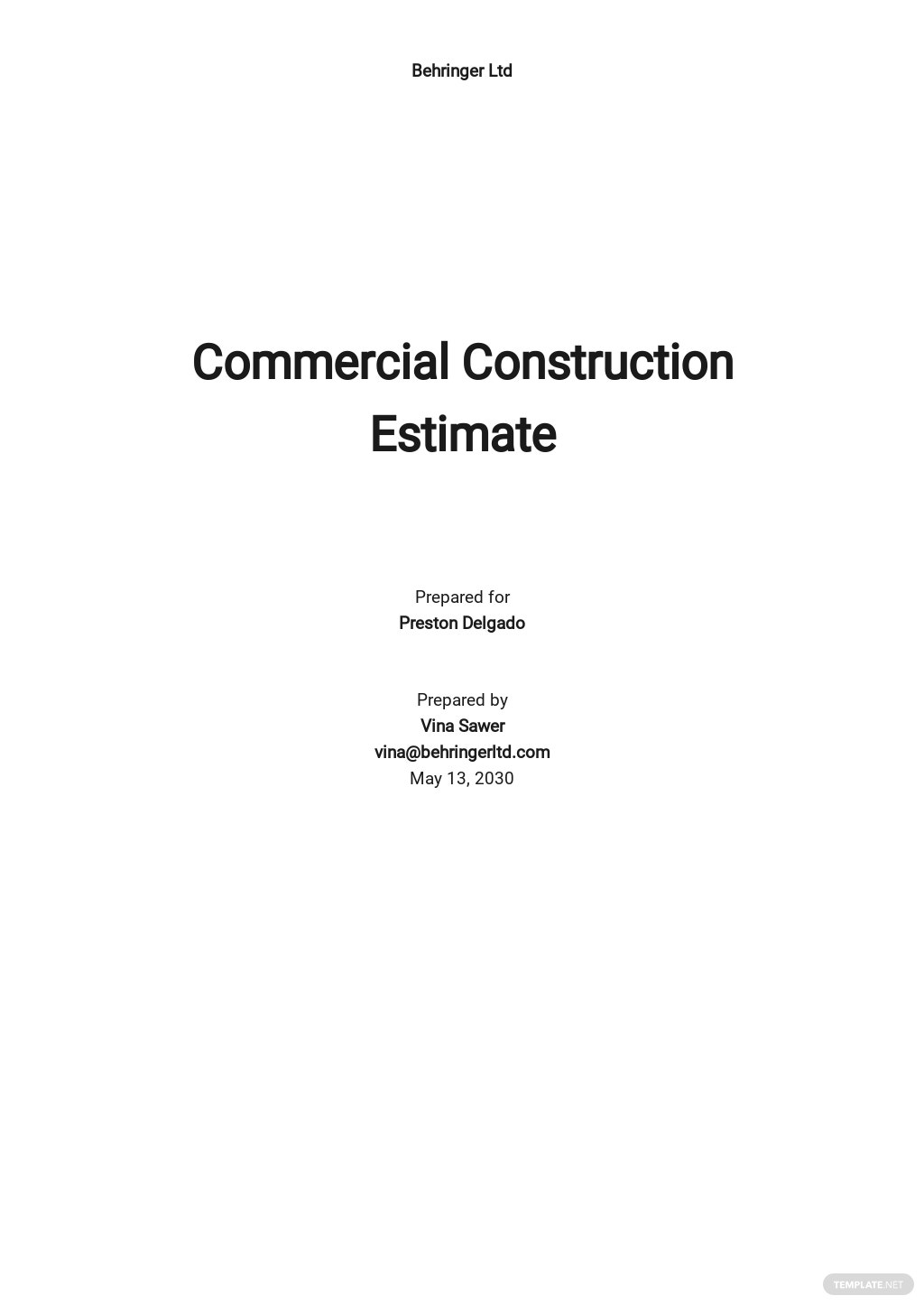 Sample Construction Estimate Template