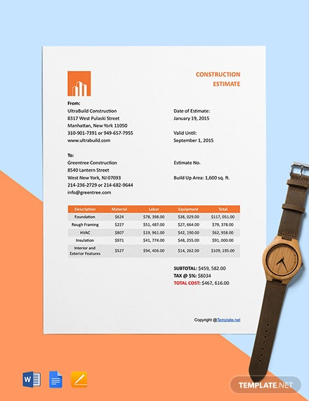 Free Sample Construction Estimate Template