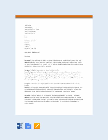 Free Transfer Letter Format