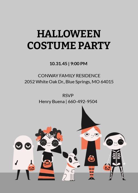 Halloween Costume Party Invitation Template
