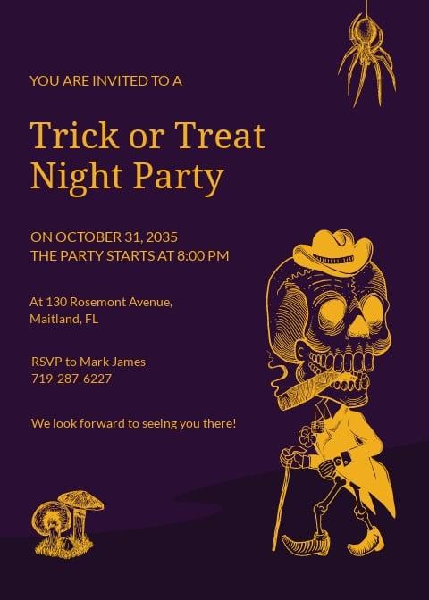 Halloween Hand Drawn Invitation Template