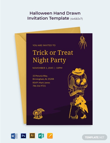 Halloween Hand Drawn Invitation Template