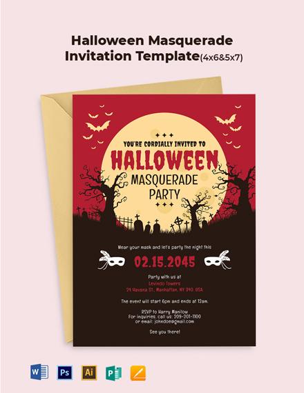 Halloween Masquerade Invitation Template