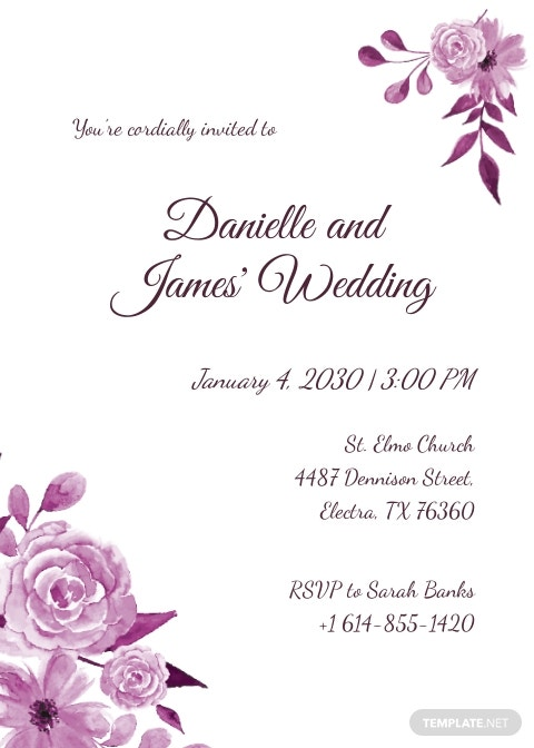 Hand Drawn Wedding Invitation Card Template