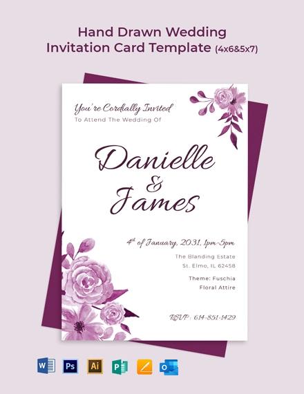 Hand Drawn Wedding Invitation Card Template