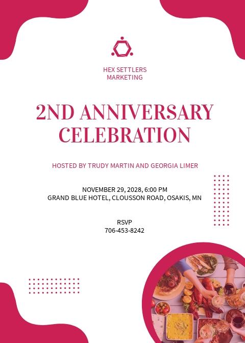 Happy Anniversary Invitation Template