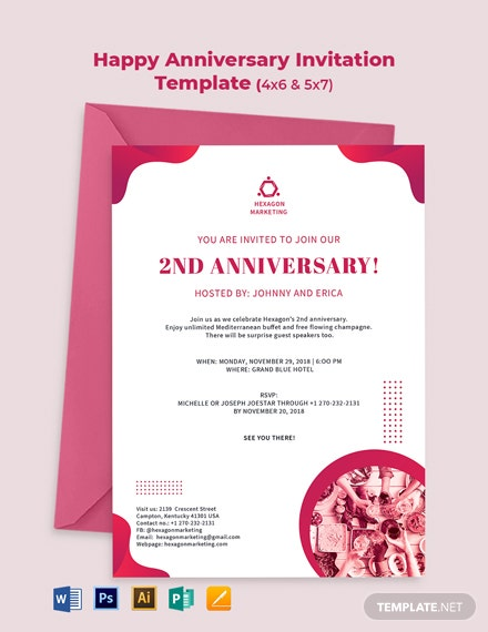 Happy Anniversary Invitation Template