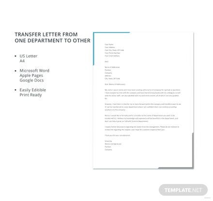 Free Transfer Letter from One Department to Other