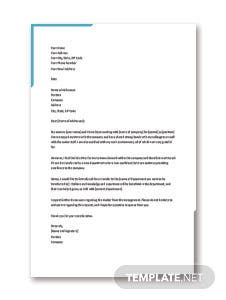 Transfer Letter from One Department to Other
