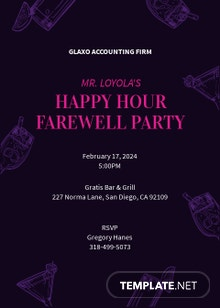 Happy Hour Farewell Invitation Template