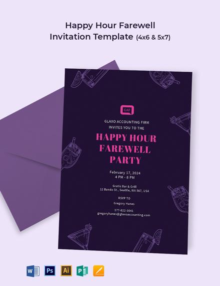 Happy Hour Farewell Invitation Template