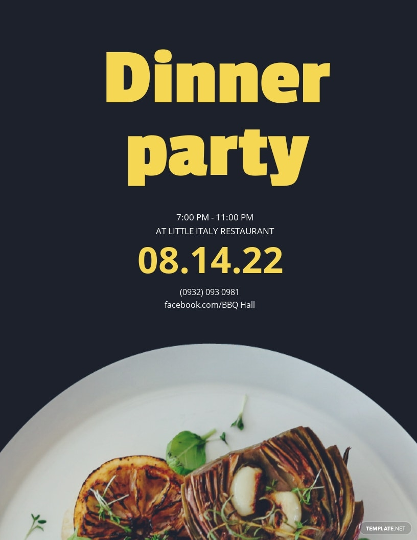Dinner Flyer Party Template [Free JPG] - Google Docs, Illustrator, Word, Apple Pages, Publisher