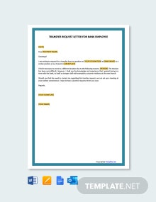 Free Transfer Request Letter for Bank Employee Template