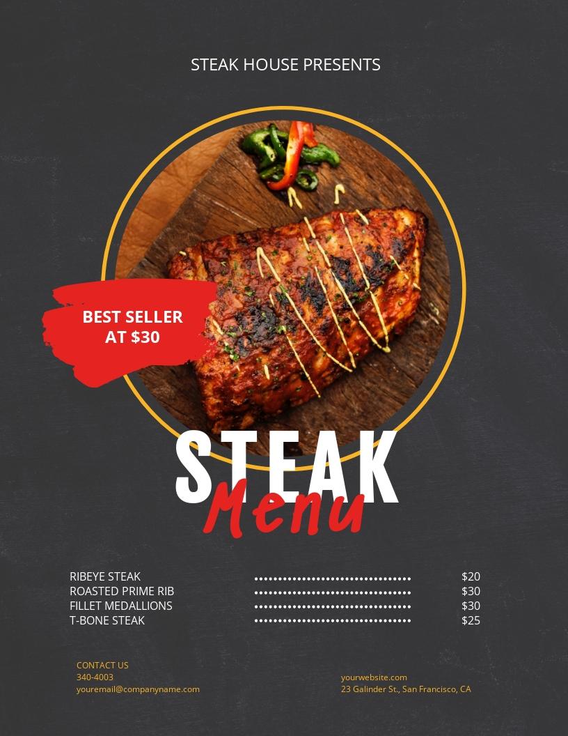 Steak Menu Flyer Template
