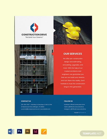 Free Basic Construction Flyer Psd Ai Id Word Pages