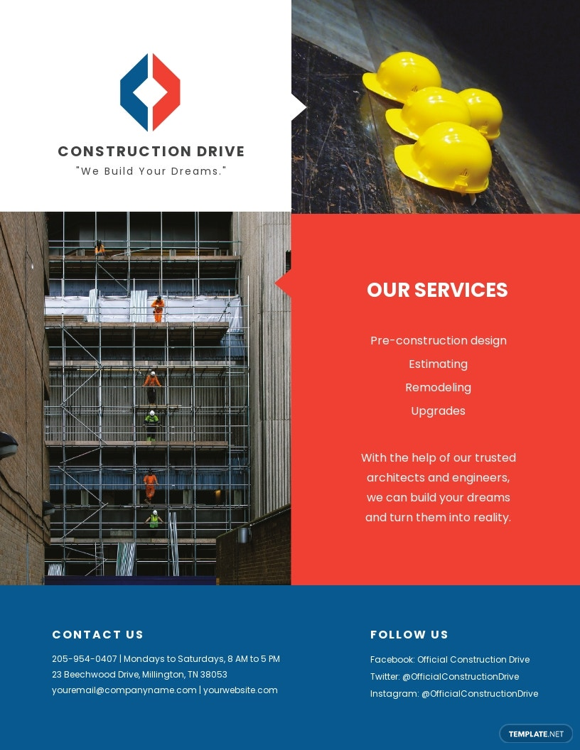 Free Basic Construction Flyer Template