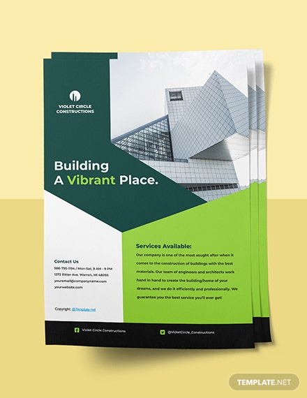 Simple  Construction Flyer Template Sample