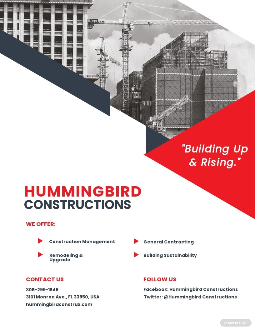 Free Sample Construction Flyer Template