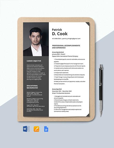 Junior Accountant Resume Template