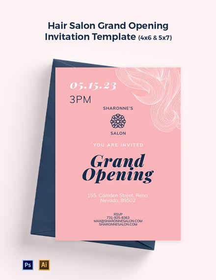 Hair Salon Grand Opening Invitation Template