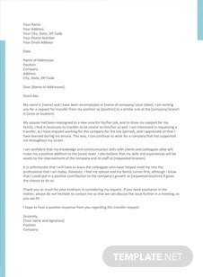 Transfer Request Letter on Spouse Ground Template